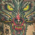 New School Chest Wolf Belly tattoo by Rock of Age