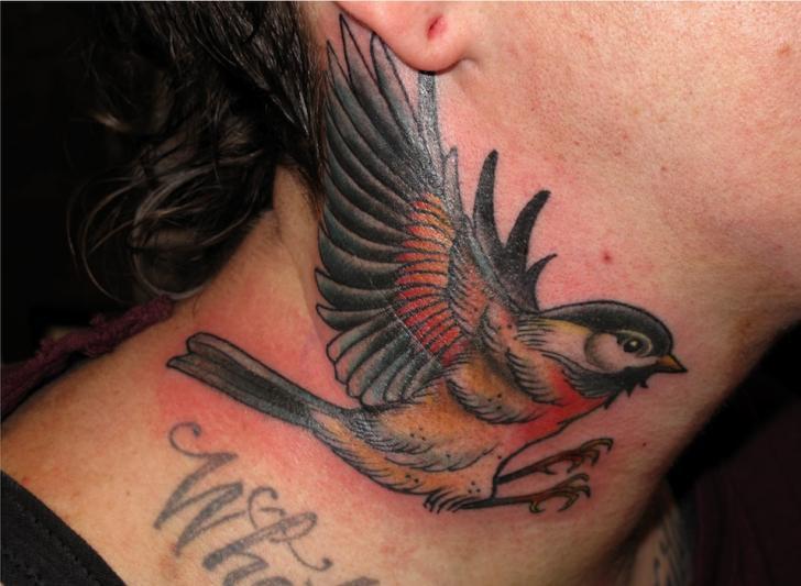 Realistic neck bird tattoo by three kings tattoo for Realistic bird tattoo