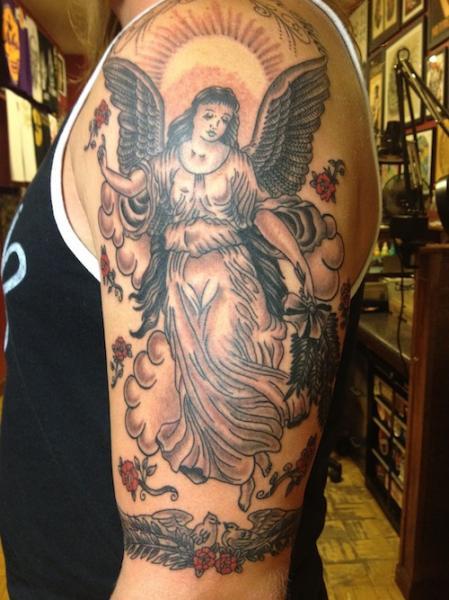 Shoulder Angel Tattoo by Three Kings Tattoo