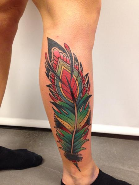 New School Calf Feather Tattoo by Filip Henningsson
