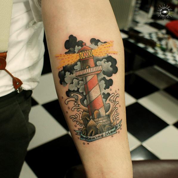 Arm Lighthouse Tattoo by Maverick Ink
