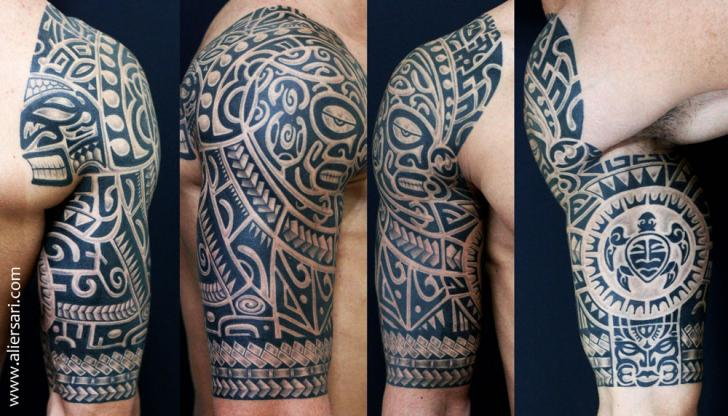 schulter arm tribal maori tattoo von ali ersari. Black Bedroom Furniture Sets. Home Design Ideas