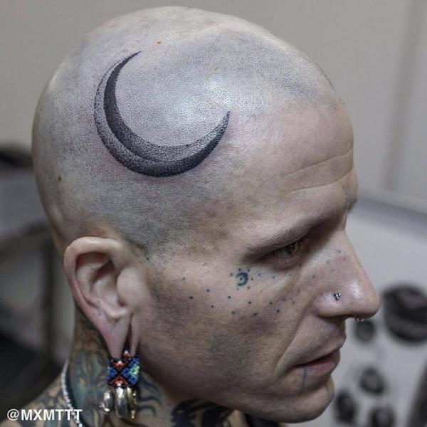 Head dotwork moon tattoo by mxm for Sang bleu tattoo