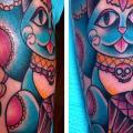 Arm New School Katzen tattoo von Alex Strangler
