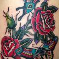 New School Leg Flower Butterfly tattoo by Marc Nava