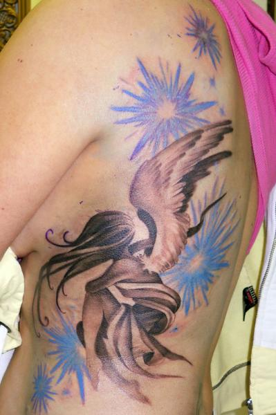 Fantasy Side Angel Tattoo by Obsidian