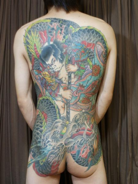 Japanese Back Samurai Dragon Butt Tattoo by Daichi Tattoos & Artworks