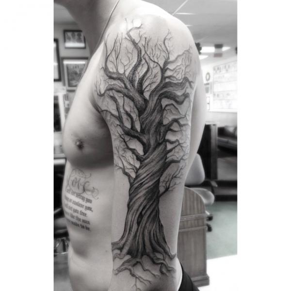 Shoulder arm tree tattoo by dr woo for Tree shoulder tattoo