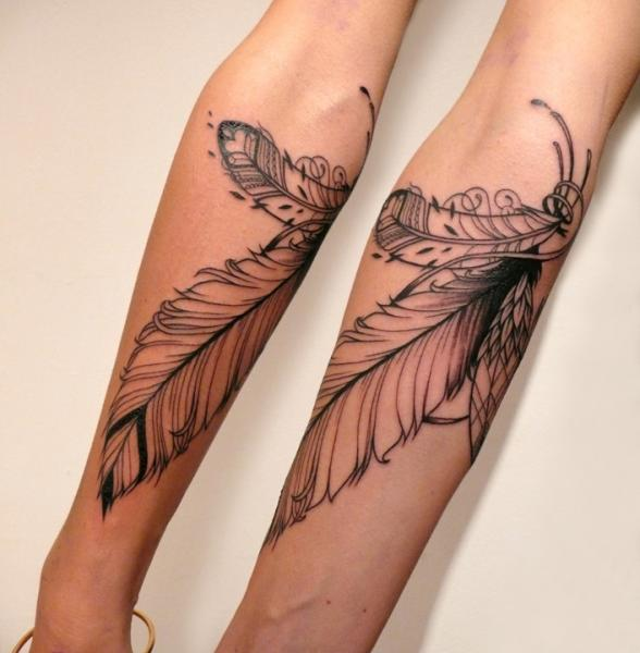 Arm Feather Tattoo by Supakitch