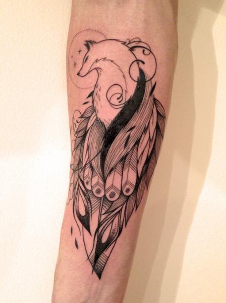 Arm Feather Wolf Tattoo by Supakitch