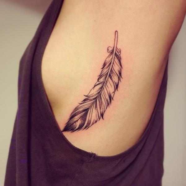 Feather Side Tattoo by Supakitch