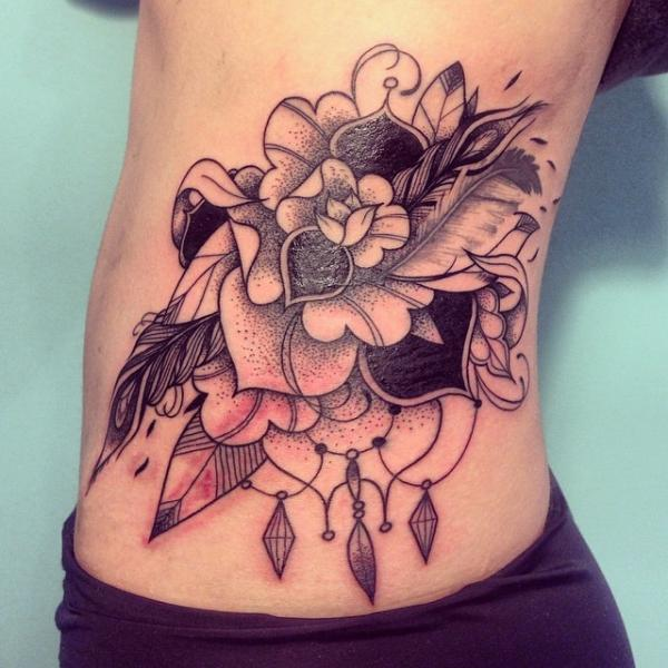 Butterfly and flower side tattoos for girls