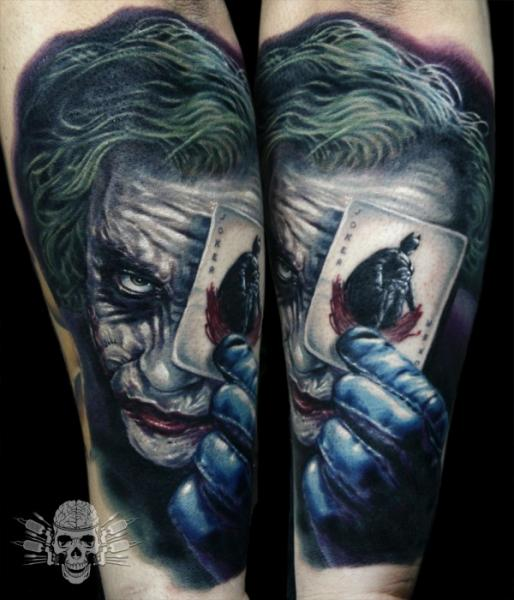Arm Fantasy Joker Tattoo by Tattooed Theory