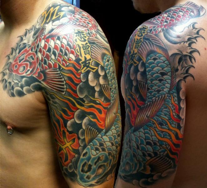 Shoulder chest japanese carp koi tattoo by lone star tattoo for Japanese carp tattoo