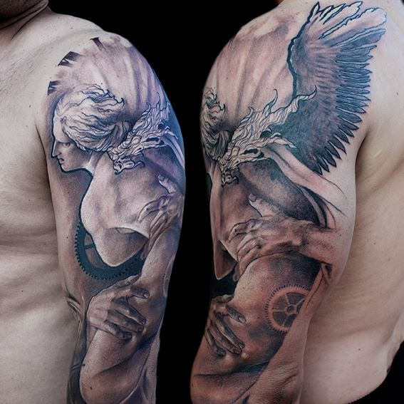 Shoulder Arm Angel Tattoo by Jak Connolly