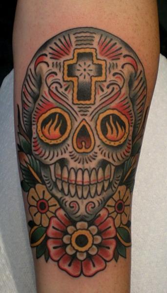 tatuaggio braccio old school teschio di paul anthony dobleman. Black Bedroom Furniture Sets. Home Design Ideas