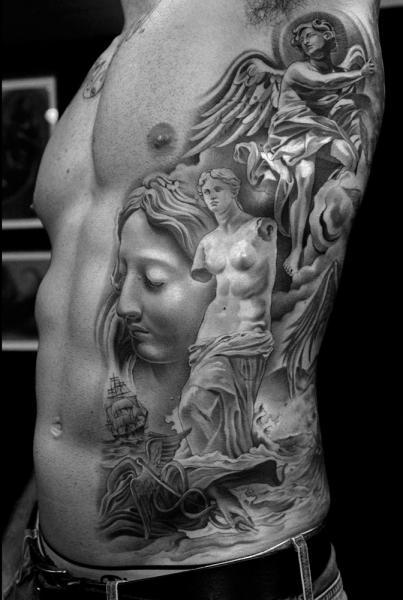 Realistic Side Angel Statue Tattoo by Jun Cha