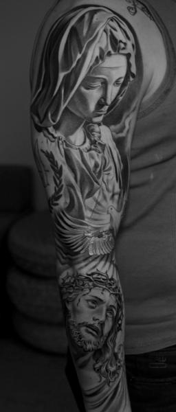 Jesus religious sleeve tattoo by jun cha for Jun cha tattoos