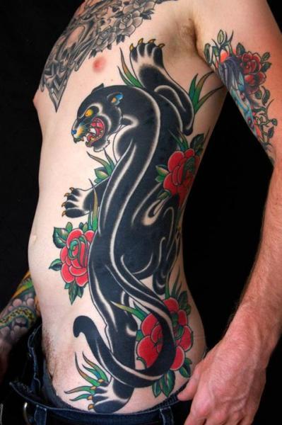 Tatuaggio old school fianco pantera di kings avenue for Old school panther tattoo