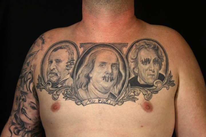 Portrait Realistic Chest President Tattoo By Secret Sidewalk