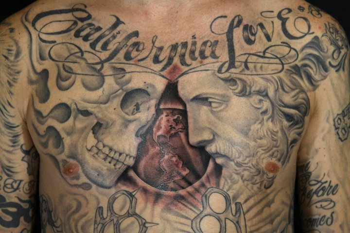 Chest Lettering Skull World Tattoo by Secret Sidewalk