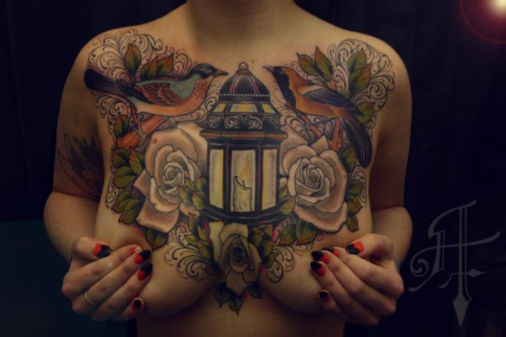 Lamp Breast Candle Tattoo By Antony Tattoo