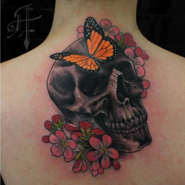 Flower Skull Butterfly Neck Tattoo by Antony Tattoo