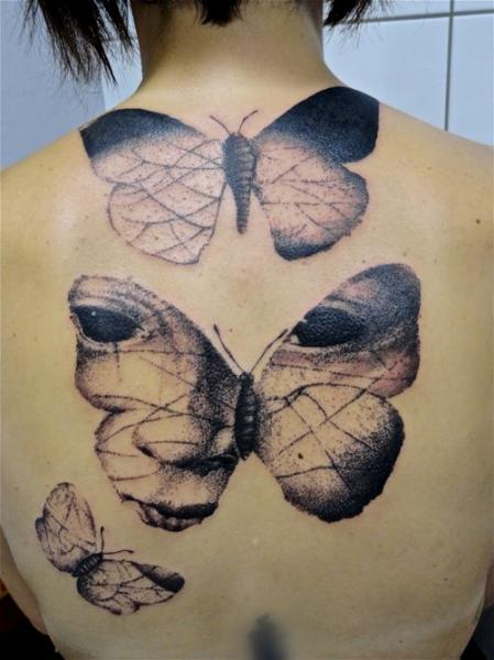 Back Butterfly Tattoo by Toko Lören Tattoo