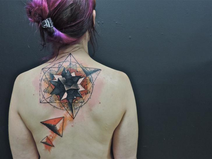 back neck geometric abstract tattoo by toko l ren tattoo. Black Bedroom Furniture Sets. Home Design Ideas