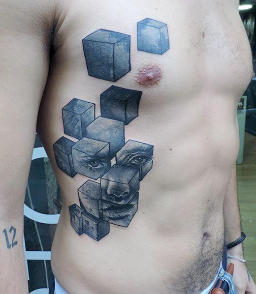 seite abstrakt w rfel tattoo von toko l ren tattoo. Black Bedroom Furniture Sets. Home Design Ideas