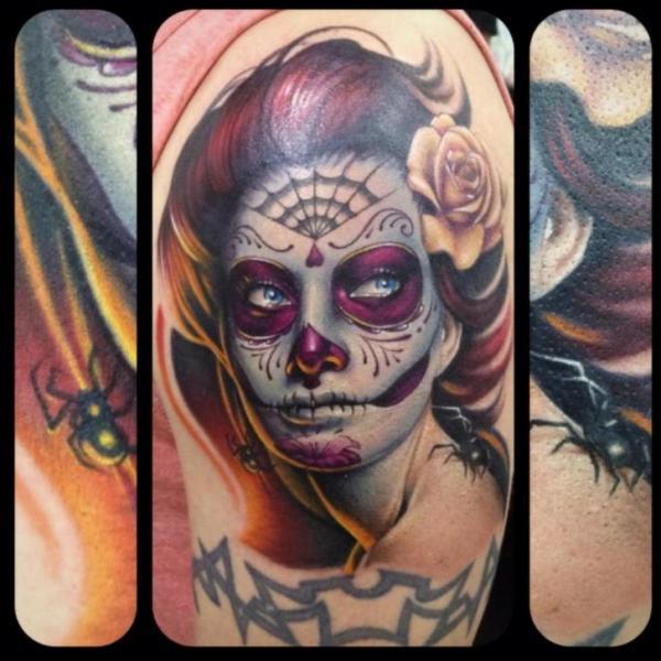schulter mexikanischer totenkopf tattoo von underworld. Black Bedroom Furniture Sets. Home Design Ideas