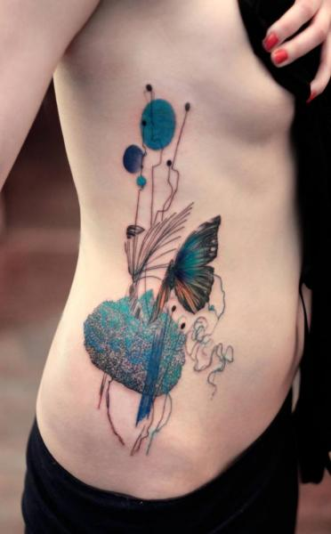 Side Butterfly Abstract Water Color Tattoo by Dead Romanoff Tattoo