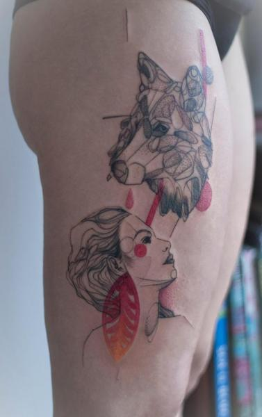 Women Wolf Thigh Abstract Tattoo by Dead Romanoff Tattoo
