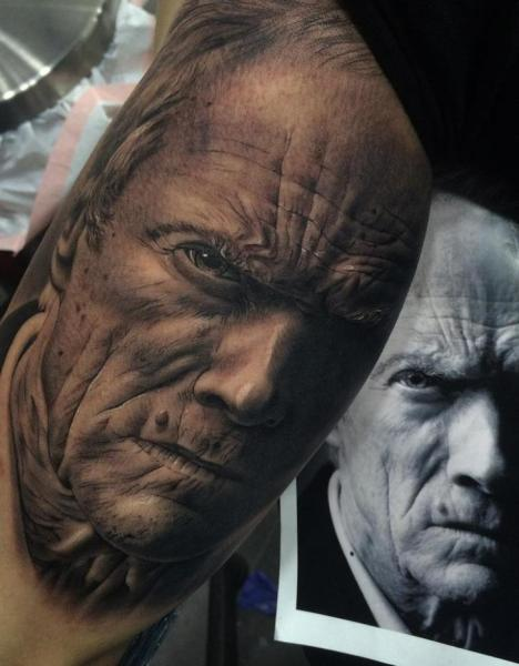 tatuaje brazo retrato realista clint eastwood por fredy tattoo. Black Bedroom Furniture Sets. Home Design Ideas