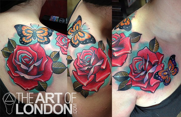 Shoulder Flower Butterfly Rose Tattoo by The Art of London