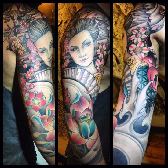 Tatuaje brazo japoneses geisha por custom ink tattoo - Tattoos geishas japonesas ...