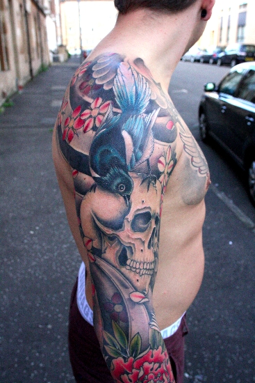 Arm japanese skull tattoo by custom ink tattoo for Custom ink tattoos