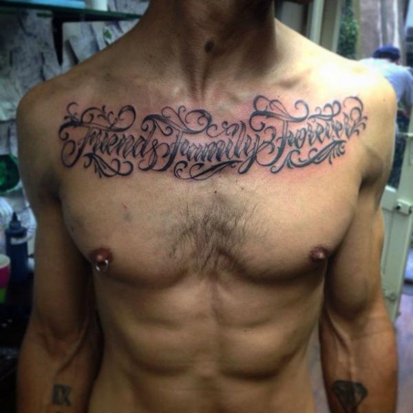 Estremamente Petto Scritte Caratteri di Rock n Ink Tattoo XZ08