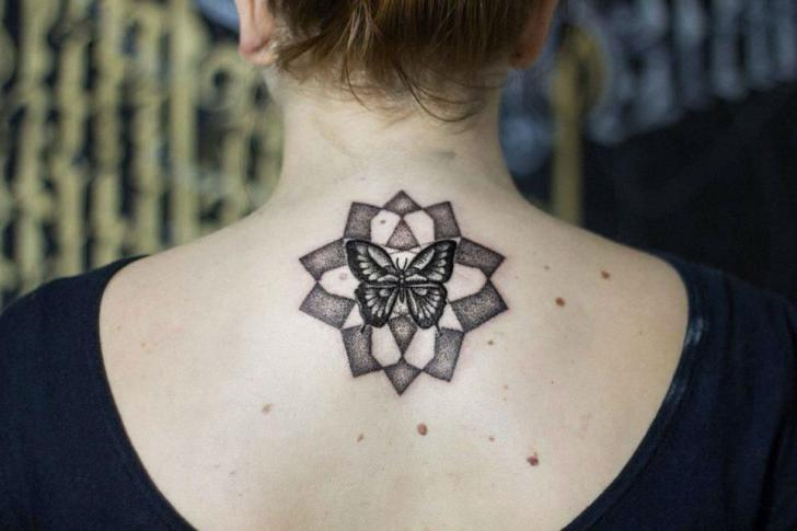 Butterfly Neck Dotwork Tattoo by Rock n Ink Tattoo