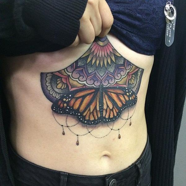 Butterfly Belly Tattoo by Last Angels Tattoo