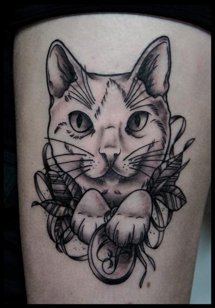 bein katzen tattoo von white rabbit tattoo. Black Bedroom Furniture Sets. Home Design Ideas