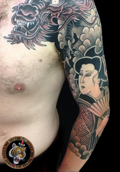 Arm Japanese Dragon Geisha Tattoo by Devils Ink Tattoo