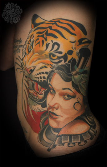 Tiger side tattoo for women
