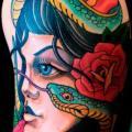 Shoulder New School Snake Women tattoo by Chapel Tattoo