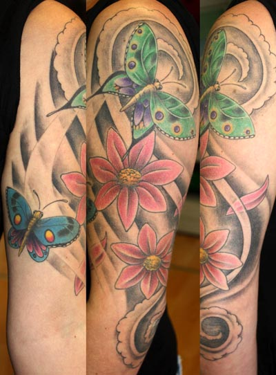 Arm Flower Butterfly Tattoo by Herzstich Tattoo