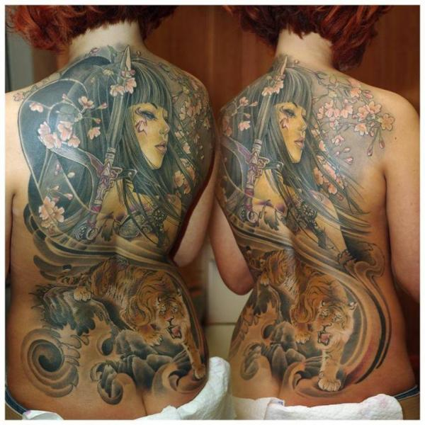 japanese back tiger geisha tattoo by redberry tattoo. Black Bedroom Furniture Sets. Home Design Ideas