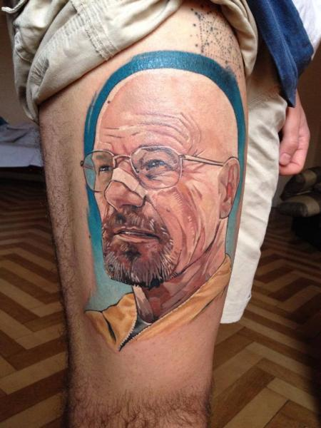 portrait realistic thigh breaking bad walter white tattoo by redberry tattoo. Black Bedroom Furniture Sets. Home Design Ideas