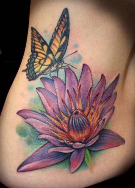 Flower side butterfly lotus tattoo by powerline tattoo for Lotus flower and butterfly tattoo designs