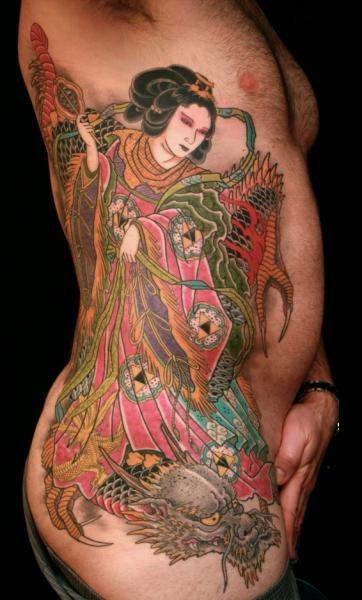 Side Japanese Dragon Geisha Tattoo by RG74 tattoo