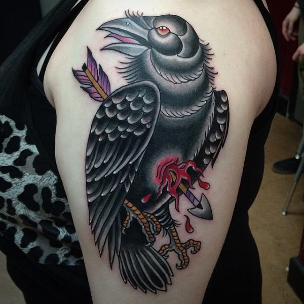 New School Crow Tattoo By Pat Whiting